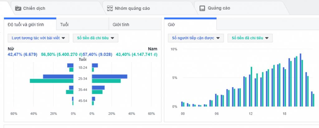 Công cụ quảng cáo thông kê chi tiết (độ tuổi , giới tính khu vực, vị trí hiển thị quảng cáo )