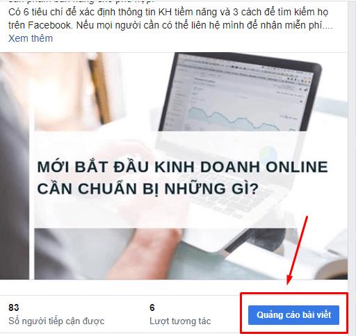 """Chỉ cần chạm nút """"Quảng Cáo Bài Viết"""" bạn sẽ quảng cáo và tiếp cần rất nhiều người trên facebook"""